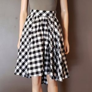 Black & White Checkered High Waisted Circle Skirt